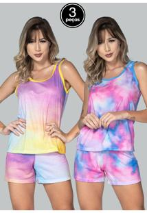 Kit 3 Pijama Feminino Serra E Mar Modas Baby Doll Tie Dye Multicolorido