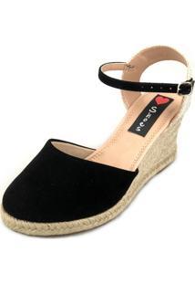 Sandália Anabela Love Shoes Espadrille Fechada Corda Preto