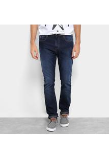 Calça Jeans Skinny Acostamento Estonada Cintura Média Masculina - Masculino-Azul