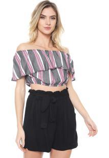 Blusa Cropped Enfim Ombro A Ombro Listrada Cinza/Rosa