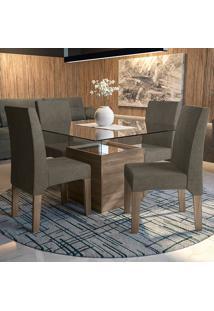 Mesa De Jantar Com 4 Cadeiras Csj056No Suede Pena– Kappesberg - Marrom Claro