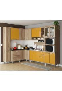 Cozinha Compacta 9 Peças 5802-S2 - Sicília - Multimóveis - Argila / Amarelo