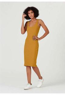 Vestido Midi Básico Em Malha Canelada Amarelo