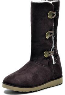 Bota Cano Médio Inverno Snap Shoes Marrom
