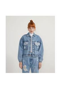 Jaqueta Cropped Jeans Com Estampa Garfield Nas Costas