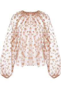 Rachel Comey Sheer Gathered Neck Blouse - Laranja