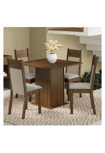 Conjunto Sala De Jantar Madesa Malibu Mesa Tampo De Madeira Com 4 Cadeiras Rustic/Crema/Pérola