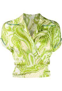 Etro Blusa Com Bordado Paisley - Verde