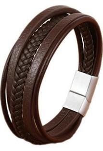 Pulseira Bracelete Em Couro Artestore, Tam. G, Com Aço - Masculino-Marrom