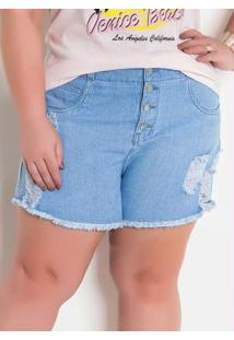 Short Jeans Claro Plus Size Desfiado