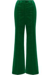 Victoria Beckham Calça Cintura Alta De Veludo - Verde