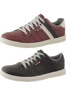 Kit Tênis Sapatenis Cr Shoes Leve E Baixo Lançamento Café E Vermelho