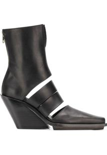 Ann Demeulemeester Ankle Boot Com Recortes - Preto