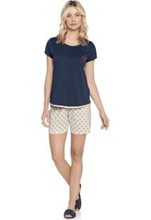 Pijama Daniela Tombini Tere Azul-Marinho
