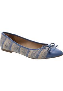 Sapatilha Texturizada Com Laã§O- Azul & Begearezzo & Co.