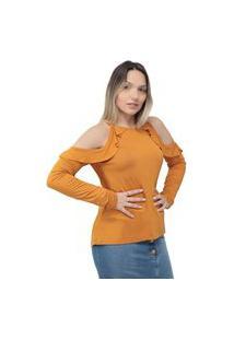 Blusa Riu Kiu Recorte Ombro C/Babado-Amarelo-M