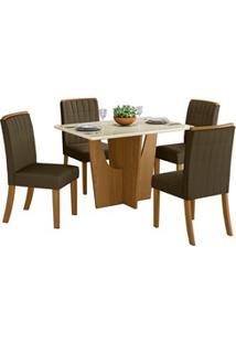 Sala De Jantar Mesa Retangular Vértice 120Cm Com 4 Cadeiras Tauá Natur