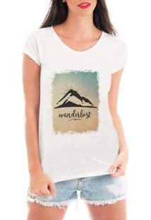 Camiseta Criativa Urbana Wanderlust Viagem - Feminino-Branco