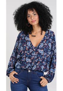 Blusa Feminina Ampla Estampada Paisley Manga Longa Decote V Azul Marinho