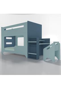 Conjunto Lumi - Beliche+Escrivaninha Azul Timber - Tricae