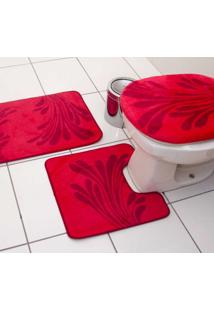 Jogo De Banheiro Luxo 3 Peças Vermelho