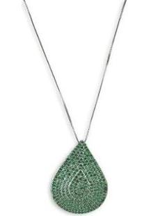 Colar Semijoia Gota Cravejado Com Zircônias E Banho Em Ródio - Feminino-Verde