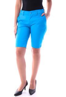 Bermuda 144 Sarja Azul Turquesa Traymon Modelagem Regular