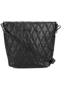 Bolsa Couro Capodarte Shoulder Bag Matelassê Feminina - Feminino-Preto