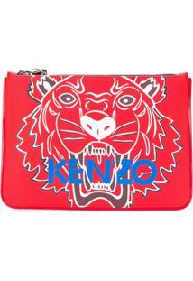 Kenzo Clutch 'A4 Tiger' De Couro - Vermelho