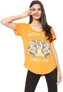 Camiseta Colcci Estampada Laranja