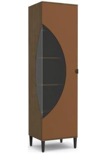Cristaleira 60Cm Kappesberg Po014 Pop 1 Porta Jacarandá Com Terracota