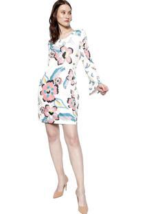 Vestido Manga Longa Energia Fashion Rosa/Branco