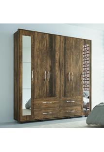 Guarda-Roupa 6 Portas Com Espelho Paris Canela Rústico - Colibri Móveis