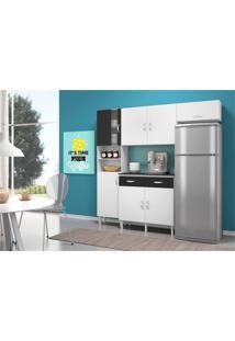 Cozinha Compacta Com Balcão 02 Portas Talita Branco/Preto - Movemax - Kanui
