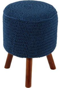 Puff Round Crochê Pés De Madeira Azul