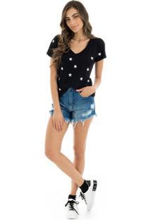 T-Shirt La Mandinne Bordada Stars Preta