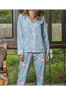 Pijama Longo Aberto Moletinho Floral Lua Cheia (9088) Poliviscose