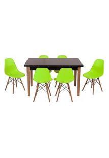 Conjunto Mesa De Jantar Luiza 135Cm Preta Com 6 Cadeiras Eames Eiffel - Verde