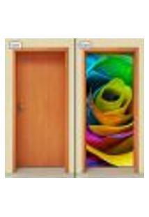 Adesivo Decorativo De Porta - Rosa Colorida - 1059Cnpt