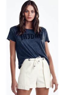 T-Shirt Estonada Em Malha De Algodão Com Aplicação