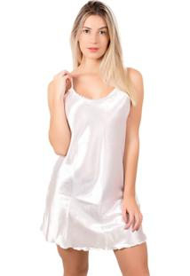Camisola Bella Fiore Modas Em Cetim Branco