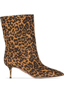 Aquazzura Bota Very Boogie 60Mm Com Animal Print - Marrom
