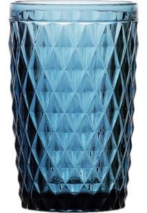 Conjunto Com 6 Copos Altos Em Vidro Abacaxi Azul 6485 Lyor Classic Azul