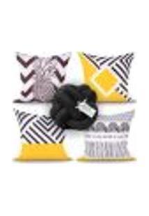 Capa Almofada Preta E Amarela Para Quarto Ou Sala Decorativa 4 Unidades + Almofada Nó Escandinavo