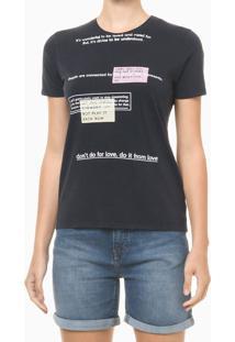 Blusa Feminina Slim Estampa Some Days Preta Calvin Klein Jeans - Pp