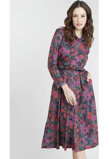 1514ad904 CEA. Vestido Chemise Feminino Midi Mindset Estampado Floral Manga Longa  Preto