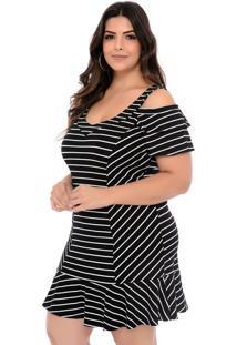 Vestido Elegance All Curves Ciganinha Plus Size Listrado Preto