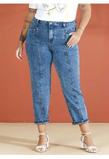 Calça Mom Em Jeans Jeans Medio