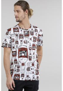 Camiseta Masculina Estampada Duff Os Simpsons Manga Curta Gola Careca Branca
