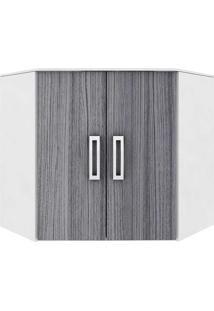 Armário De Canto Cozinha Suíça 2 Portas - Poliman Branco/Cinza
